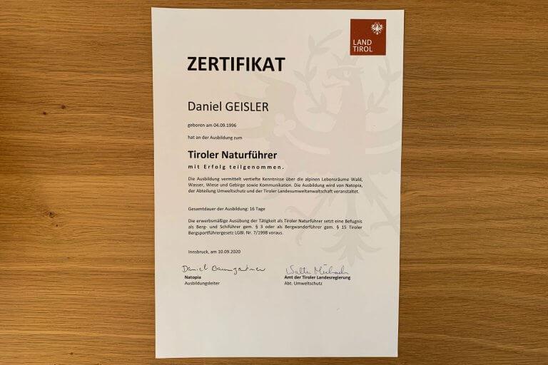 Zertifikat Tiroler Naturführer